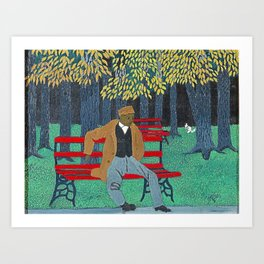 African American Masterpiece 'Man on a Bench' by Horace Pippin Art Print