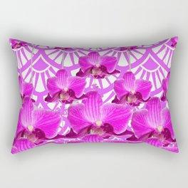 PURPLE ART DECO PATTERN ORCHIDS PATTERN ABSTRACT Rectangular Pillow
