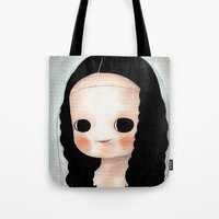 mona lisa Tote Bags featuring Mona Lisa by Evangelione