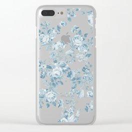 Vintage blue white bohemian elegant floral Clear iPhone Case