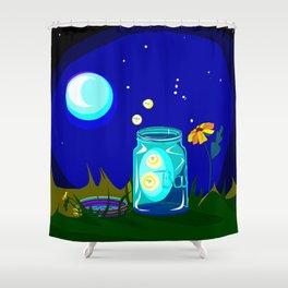 A Jar of Fireflies at Night Shower Curtain