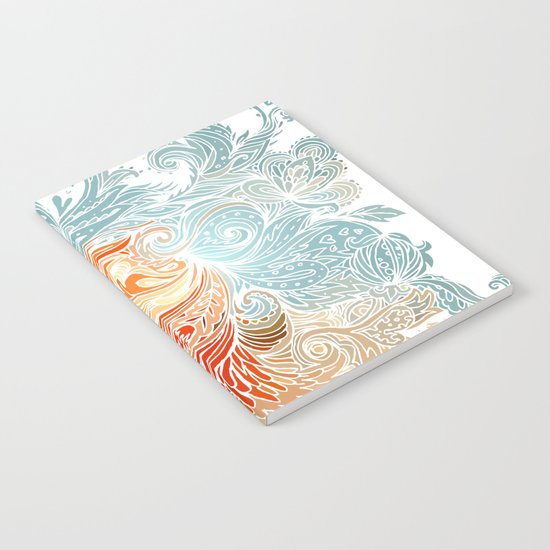 Light Blue Floral Indian Pattern Notebook