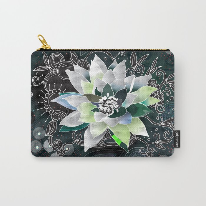 Dark blue and black zentangle inspired waterlily  Carry-All Pouch