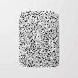 Black White Grey Monochrome Terrazzo Pattern Stone Speckles Effect Bath Mat