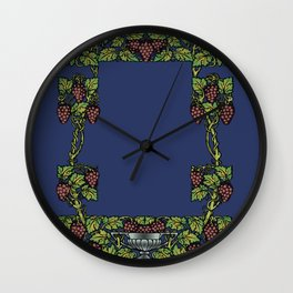 wine floral frame 2 Wall Clock