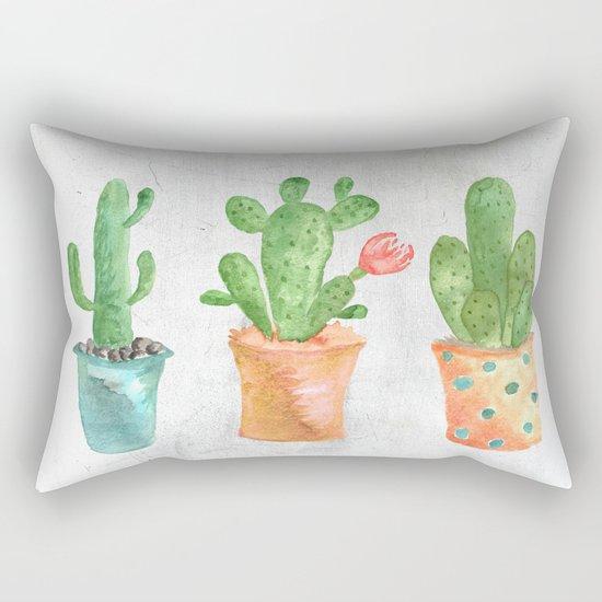 Three Green Cacti Watercolor White Rectangular Pillow
