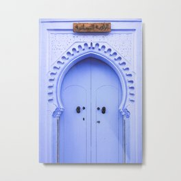 Blue Arched Door in Chefchaouen, Morocco Metal Print