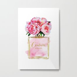 Perfume bottle with flowers, Peony, Peonies, Pink, gold, watercolor, Perfume, Pink, Gold ,Fashion Metal Print