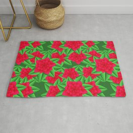 Dark Red Camellias and Green Leaves Rug