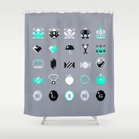 8 bit Shower Curtains featuring 8-Bit Bling by Spires