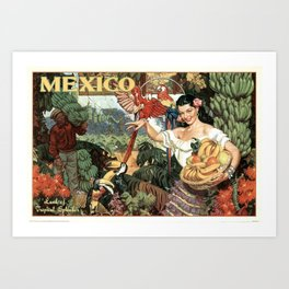 Mexico, Land of Tropical Spendor - Vintage Travel Poster Art Print