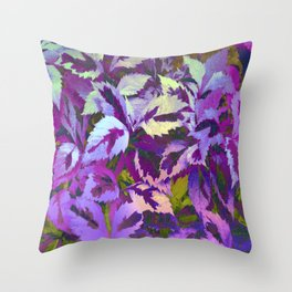 More Lovely Leaves, Purple Shades Throw Pillow