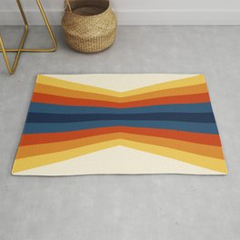 Bright 70's Retro Stripes Reflection Rug