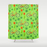 cannabis Shower Curtains featuring Netherlands seamless pattern with bicycle, marijana cannabis leafs and spring-flowering plant tulip by artskvortsova