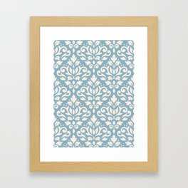 Scroll Damask Big Pattern Cream on Blue Framed Art Print