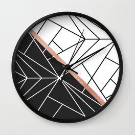 Modern geometrical abstract rose gold black white stripes Wall Clock