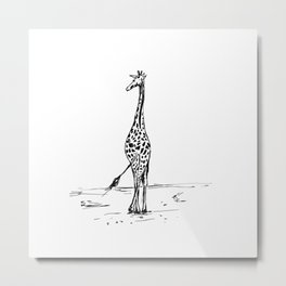 Walking Giraffe Metal Print