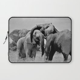 12,000pixel - 500dpi, High Quality Photograph - Elephant Family II - Black and white Laptop Sleeve