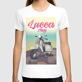 Lucca Italy Scooter travel poster T-shirt