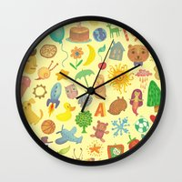 be happy Wall Clocks featuring Happy by Vladimir Stankovic