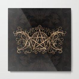 Triple Moon - Triple Goddess Pentagram Ornament Metal Print