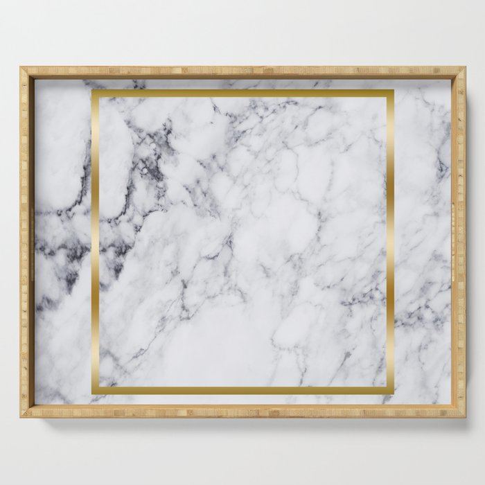 White Marble Gold Frame Serving Tray by artonwear | Society6