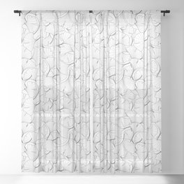 ginkgo leaves (white) Sheer Curtain
