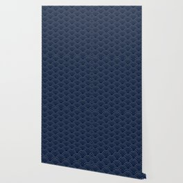 Japanese Blue Wave Seigaiha Indigo Super Moon Pattern Wallpaper