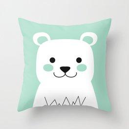 Mint Bear Throw Pillow