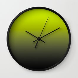 Lime Yellow and Black Ombre  Wall Clock