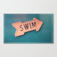 swim Canvas Prints featuring swim by Sylvia Cook Photography
