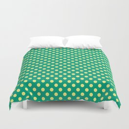 Emerald Green With Yellow Polka Dots Duvet Cover