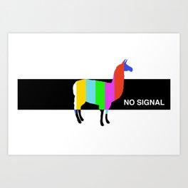 No Signal Llama Art Print