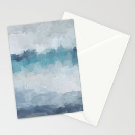 Aqua Teal Turquoise Sky Blue White Gray Abstract Art Modern Painting Stationery Cards
