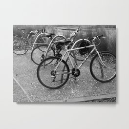 Bikes In The Bike Stand Metal Print