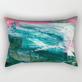 Meditate [4]: a vibrant, colorful abstract piece in bright green, teal, pink, orange, and white Rectangular Pillow