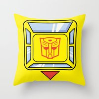 transformers Throw Pillows featuring Transformers - Bumblebee by CaptainLaserBeam