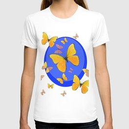 YELLOW BUTTERFLIES SWARM & BLUE RING MODERN ART T-shirt