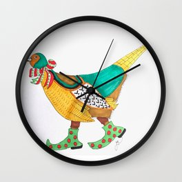 Christmas Pheasant Wall Clock