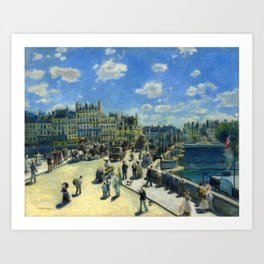 Pont Neuf Bridge Across the River Seine in Paris, France by Auguste Renoir Art Print