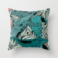 whales Throw Pillows featuring Whales by melcsee