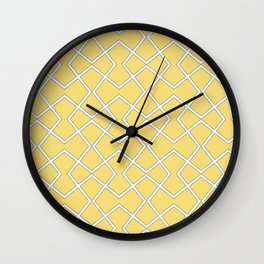 Yellow Gray And White Abstract Pattern Wall Clock