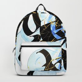 Abstract Calligraphy artwork. Black letters on blue brush strokes. Backpack