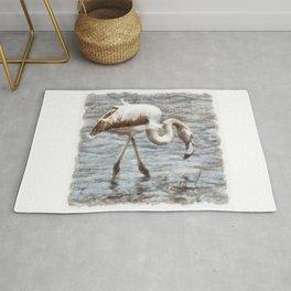Knee Deep Flamingo Watercolor Rug