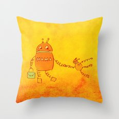 Robomama Robot Mother And Child Throw Pillow