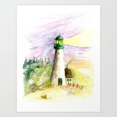 Lighthouse At Dusk Art Print