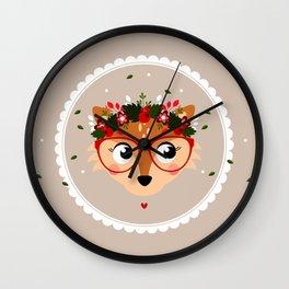 Renarde de Noël (avec couronne) Wall Clock