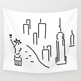 new York the Statue of Liberty skyscraper Wall Tapestry