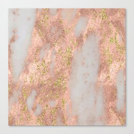 Rose Gold Marble with Yellow Gold Glitter Canvas Print