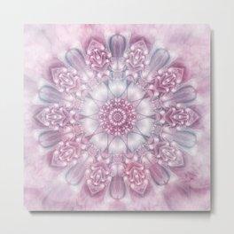Dreams Mandala in Pink, Grey, Purple and White Metal Print